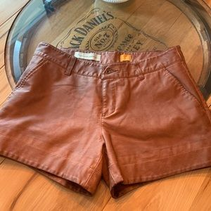Pants - Brown leather shorts